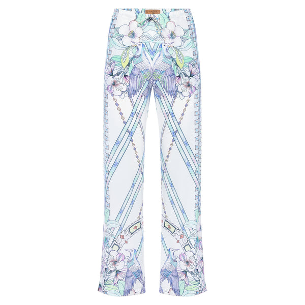 women wide leg silk palazzo pants in a multicolor pastel print