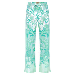 women wide leg silk palazzo pants in an emerald print