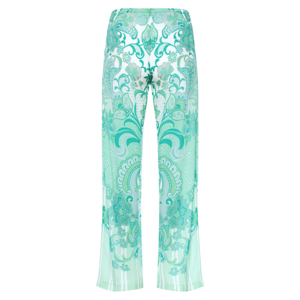 back of a women wide leg silk palazzo pants in an emerald print