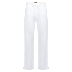 relaxed women linen pants in white