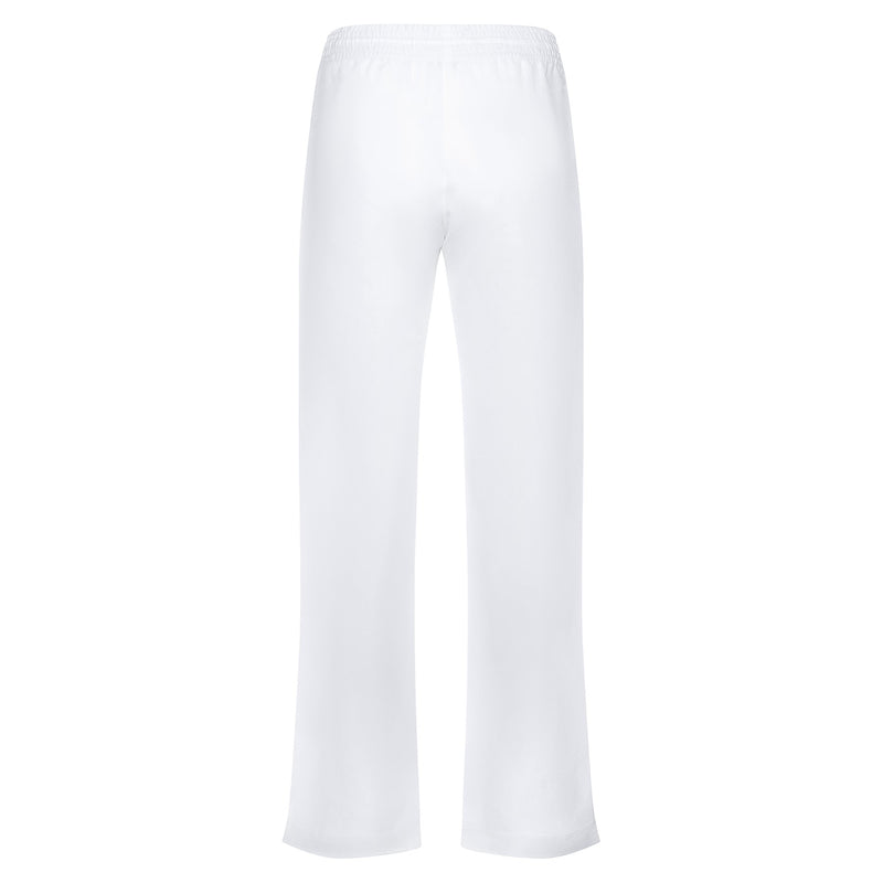 back of a relaxed women linen pants in white