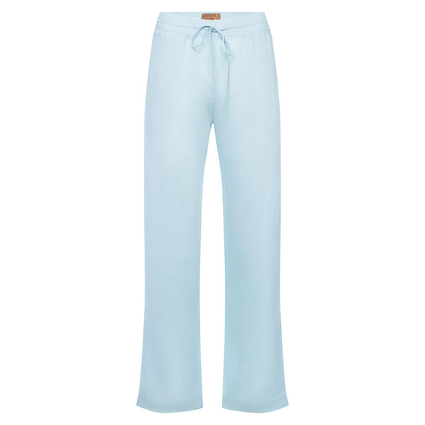 relaxed women linen pants in pastel blue