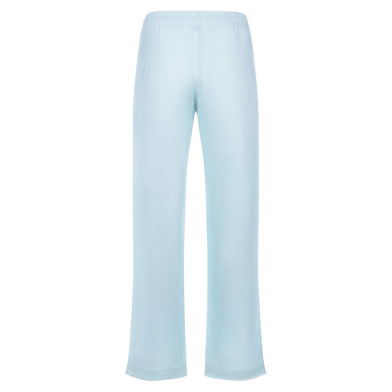 back of a relaxed women linen pants in pastel blue