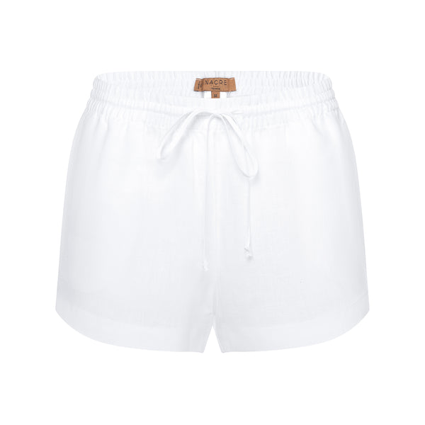 women linen shorts in white