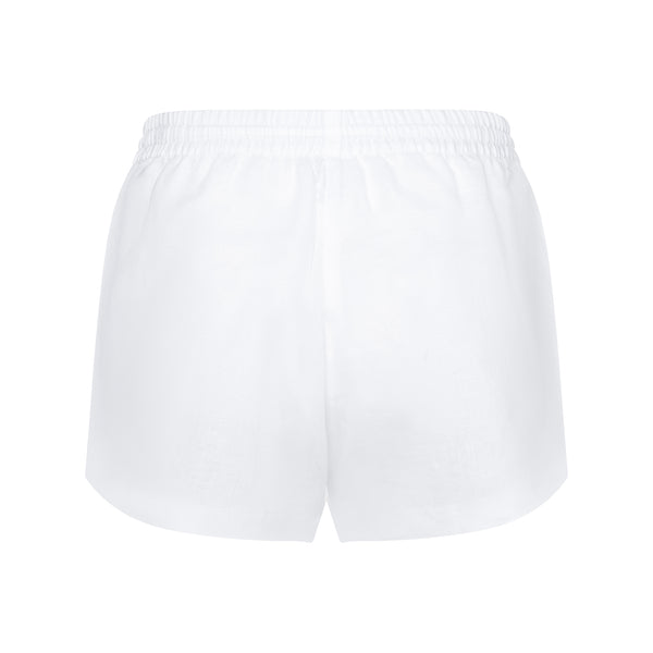 back of a women linen shorts in white