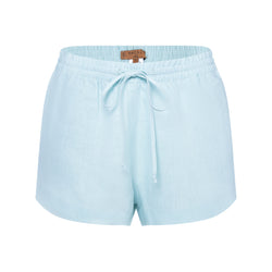 women linen shorts in pastel blue