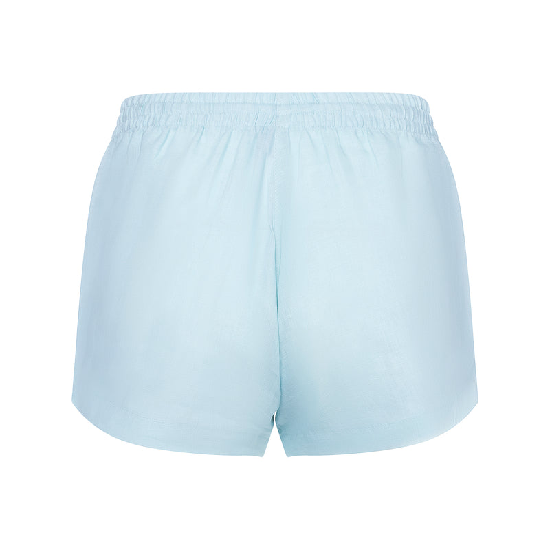 back of a women linen shorts in pastel blue
