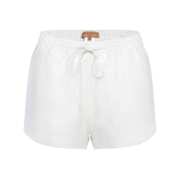 Linen shorts metallic silver
