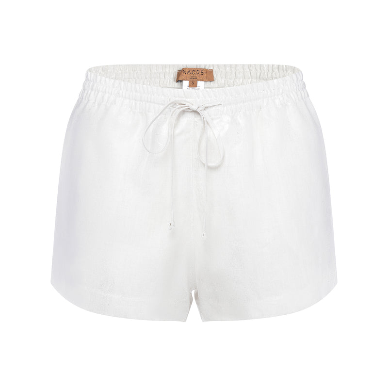women linen shorts in a metallic silver