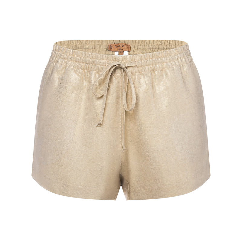 women linen shorts in a metallic gold