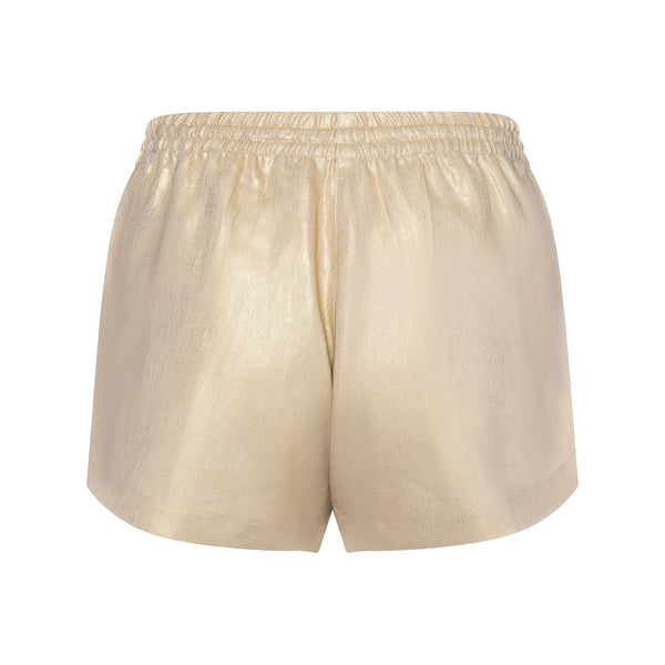 LINEN SHORTS metallic gold