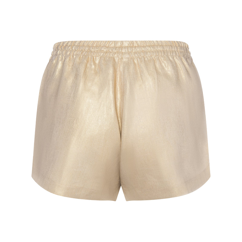 back of a women linen shorts in a metallic gold