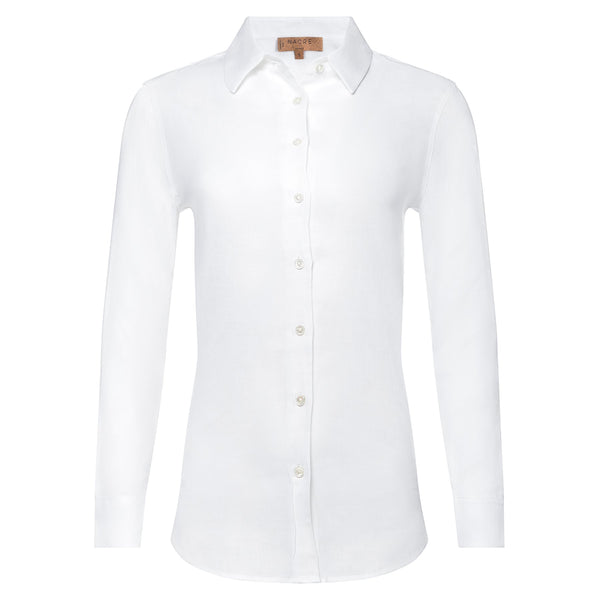 women linen shirt in white