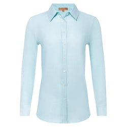 women linen shirt in pastel blue