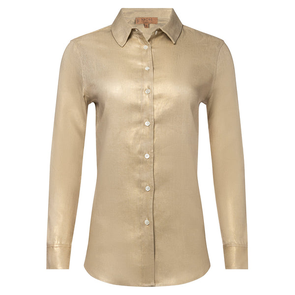 women linen shirt in metallic gold