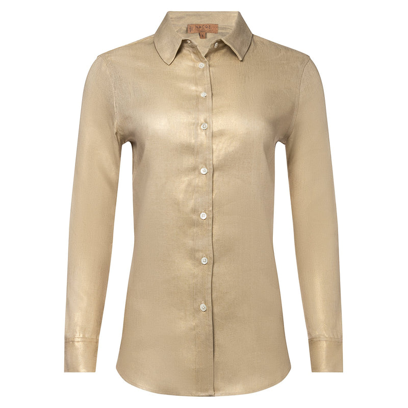 LINEN SHIRT metallic gold