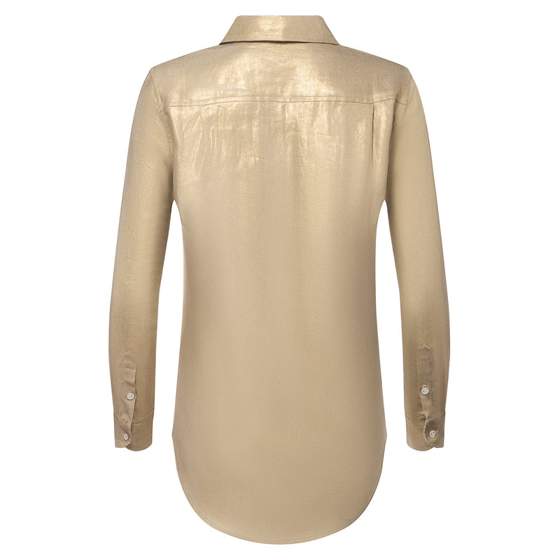 back of a women linen shirt in metallic gold