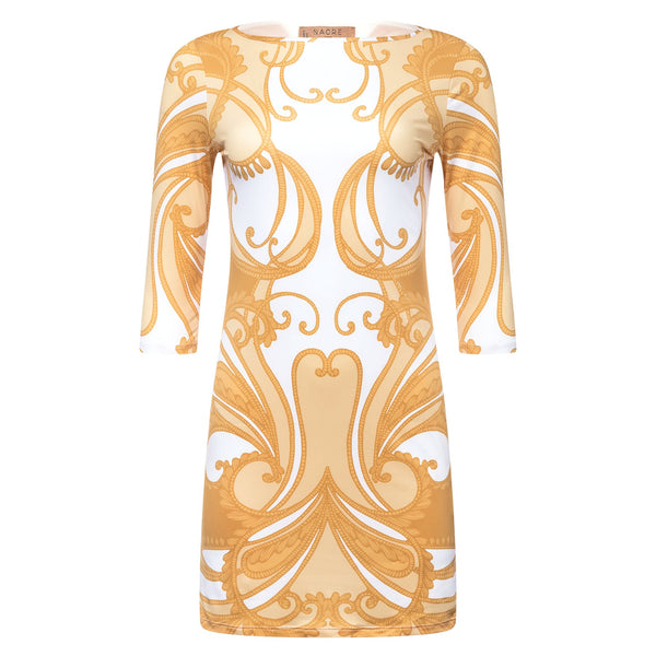 mini dress with a boat neckline and 3/4 sleeves in a yellow paisley print