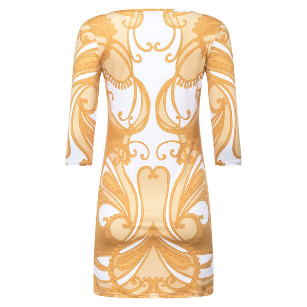 back of a mini dress with a boat neckline and 3/4 sleeves in a yellow paisley print