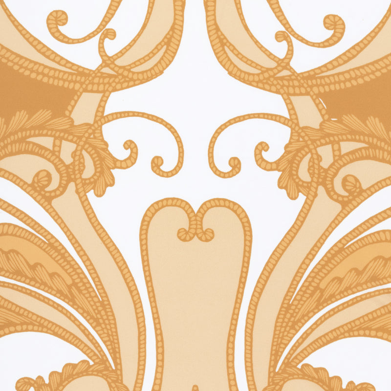 close up of a swimsuit fabric in a yellow paisley print