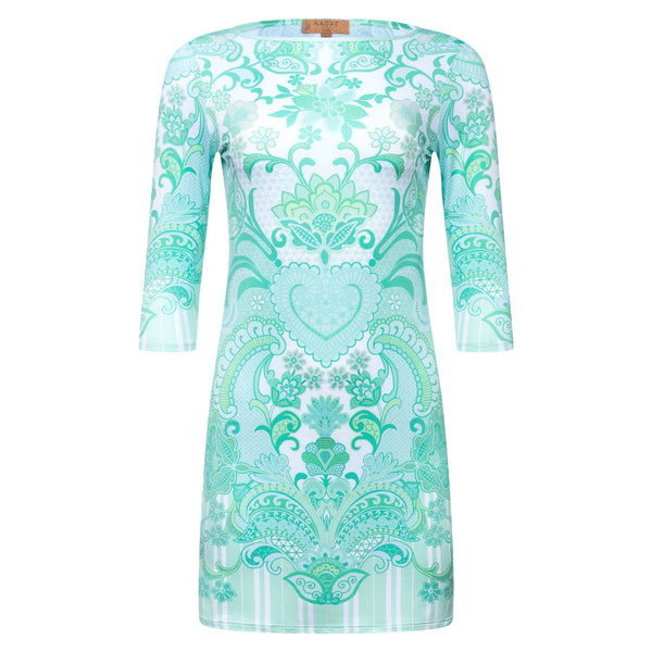 mini dress with a boat neckline and 3/4 sleeves in an emerald print