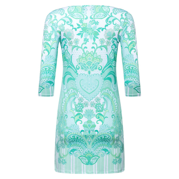 T-SHIRT DRESS emerald heart print