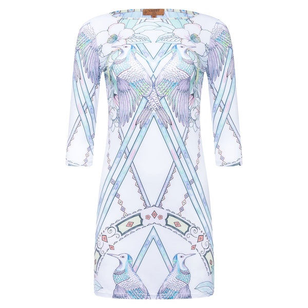 mini dress with a boat neckline and 3/4 sleeves in a multicolor pastel print