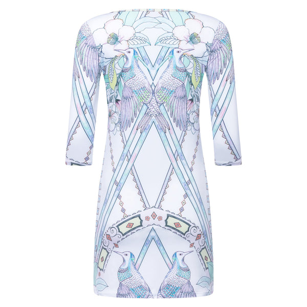 back of a mini dress with a boat neckline and 3/4 sleeves in a multicolor pastel print