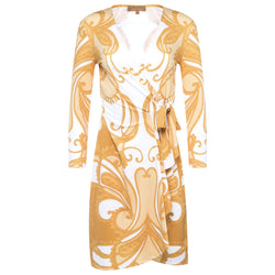 wrap dress with a plunging neckline and 3/4 sleeves in a yellow paisley print