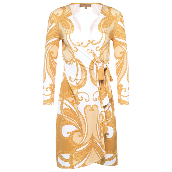 WRAP DRESS gold paisley print