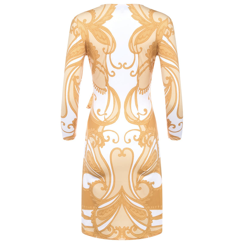 back of a wrap dress with a plunging neckline and 3/4 sleeves in a yellow paisley print