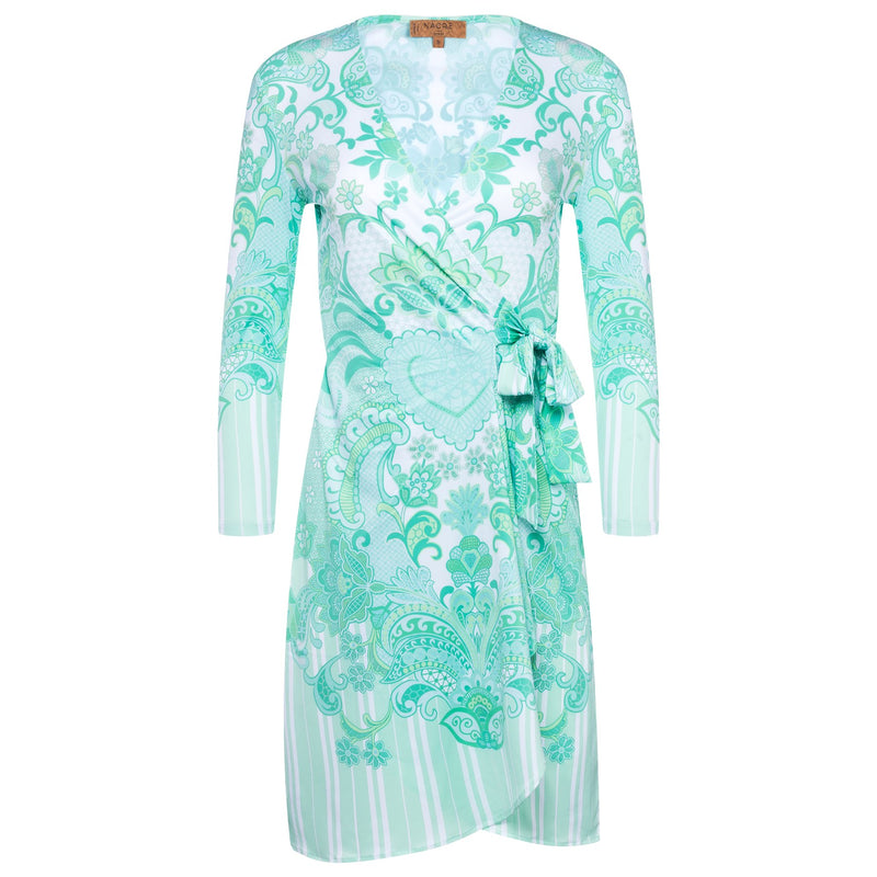 wrap dress with a plunging neckline and 3/4 sleeves in an emerald print