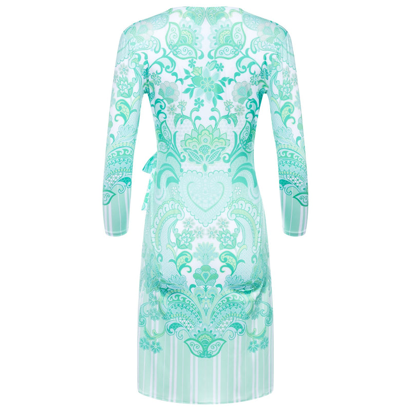back of a wrap dress with a plunging neckline and 3/4 sleeves in an emerald print