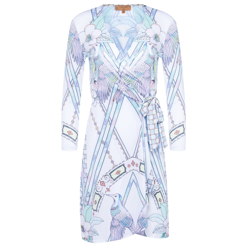 wrap dress with a plunging neckline and 3/4 sleeves in a multicolor pastel print