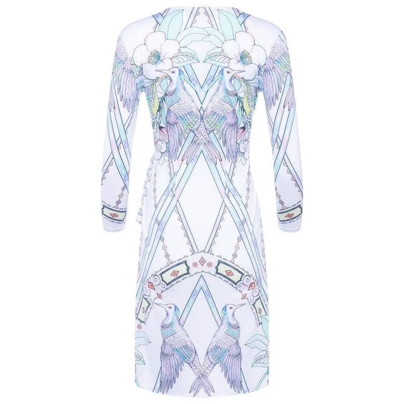 back of a wrap dress with a plunging neckline and 3/4 sleeves in a multicolor pastel print