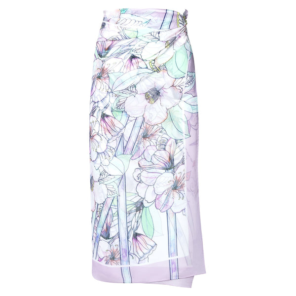 silk georgette beach pareo in a multicolor pastel print
