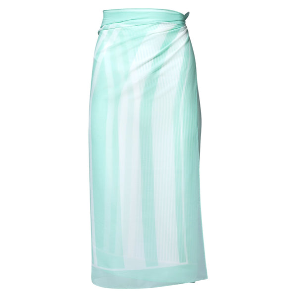 silk georgette beach pareo in pastel blue stripes
