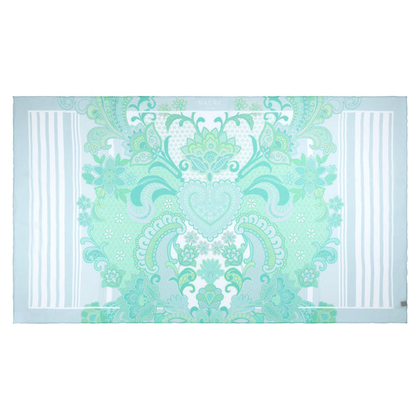 pareo emerald heart print