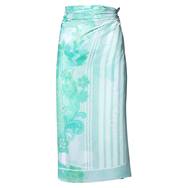 silk georgette beach pareo in an emerald print