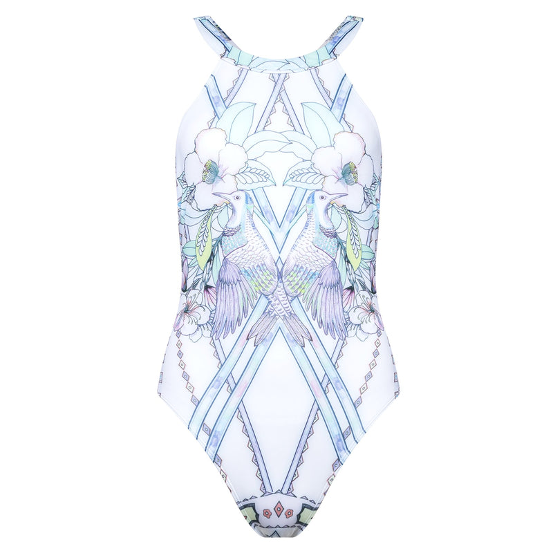 olympic one-piece swimsuit in a multicolor pastel print