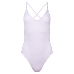 one-piece swimsuit with a plunging neckline and crossed back in lavender