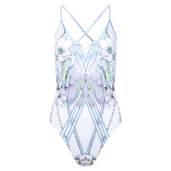 one-piece swimsuit with a plunging neckline and crossed back in a multicolor pastel print