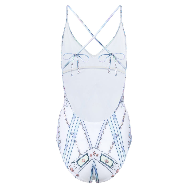 back of a one-piece swimsuit with a crossed back in a multicolor pastel print