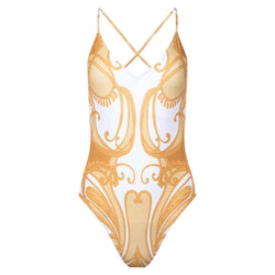 one-piece swimsuit with a plunging neckline and crossed back in a yellow paisley print