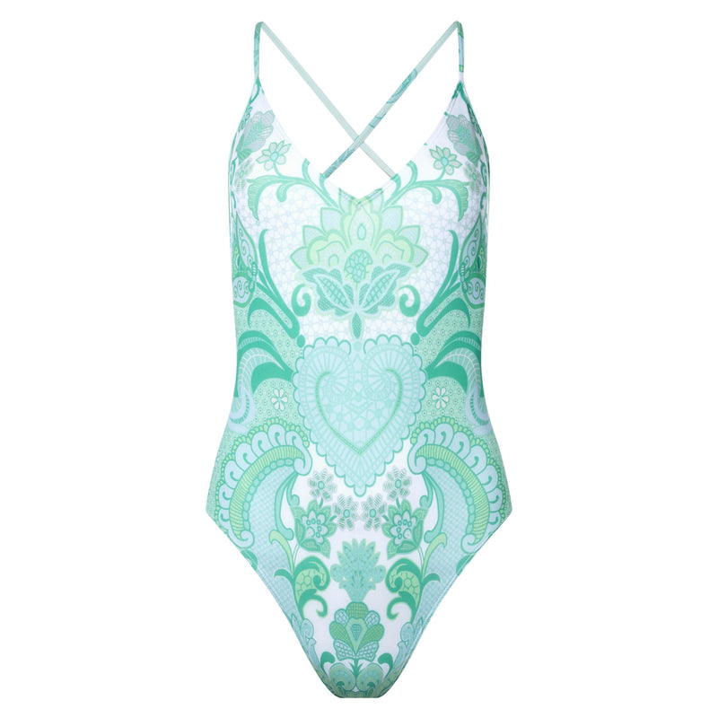one-piece swimsuit with a plunging neckline and crossed back in an emerald print