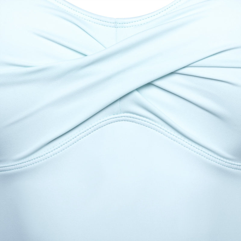 detail of a one-piece swimsuit in pastel blue