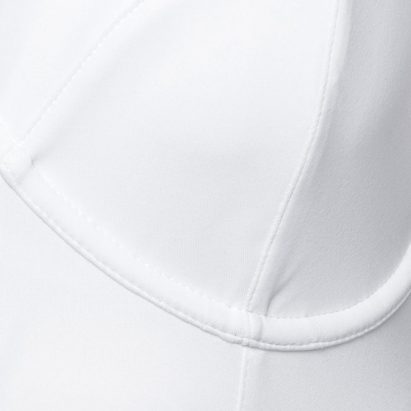 close up of a one-piece bustier swimsuit in white