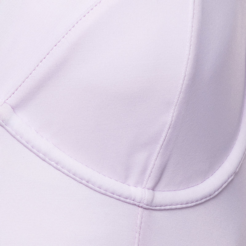 close up of a one-piece bustier swimsuit in lavender