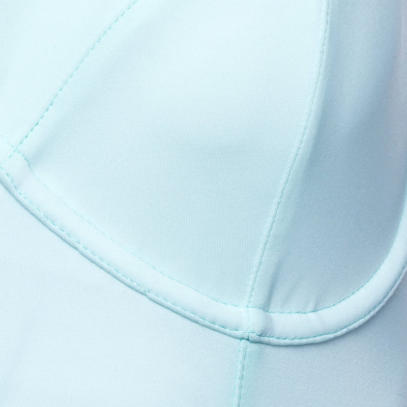 close up of a one-piece bustier swimsuit in pastel blue