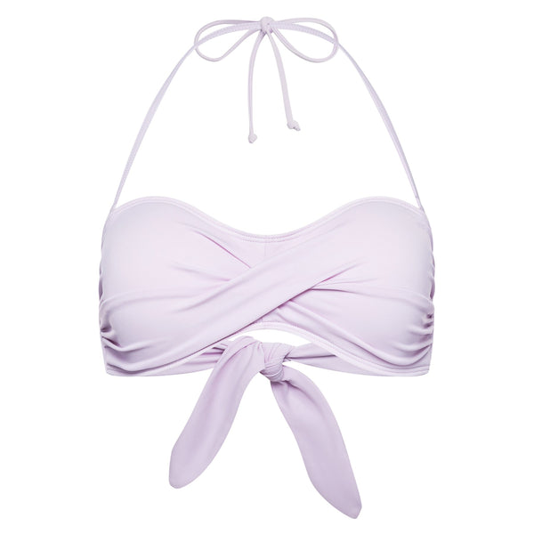 strapless bikini top with draped bust in lavender